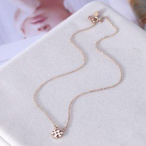 NEW Tory Burch Rose Gold Logo Pendant Necklace